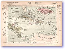 West Indies and Central America - 1868 (Mcleod's Middle-class Atlas - Published: 1868) 1200 DPI