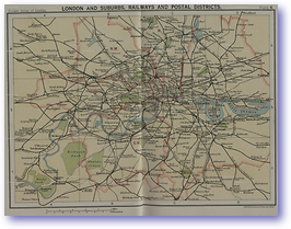 London Suburbs Railways and Postal Districts - 1922 (Pocket Atlas and Guide to London - Published: 1922)